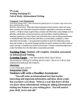 Teacher's College/SchoolWide Informational Writing Baseline Assessment 5th Grade