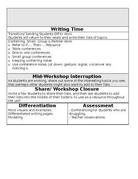 TC Informational Writing Grade 1 BEND 1 BUNDLE (sessions 1 to 8)