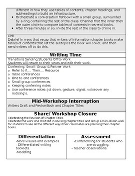 TC Informational Writing Grade 1 BEND 2 BUNDLE (sessions 9-14)