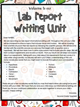 TC Lab Report Lesson Plans 2nd Grade Writing