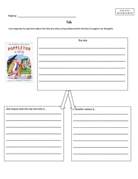 Opinion Writing Graphic Organizers 2nd Grade