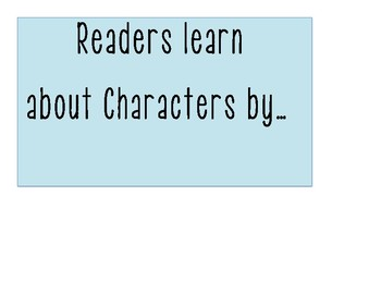 TC Reader's Workshop: Studying Characters and Their Stories Anchor Chart
