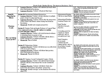 TC Reading, Reading History: The American Revolution - Curriculum Map
