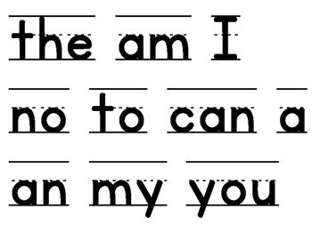 TC Sight Word Word Wall Lists A, B, C, D
