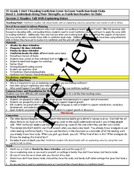 TC Teachers College All Grade 1 Reading and Writing Lesson Plans