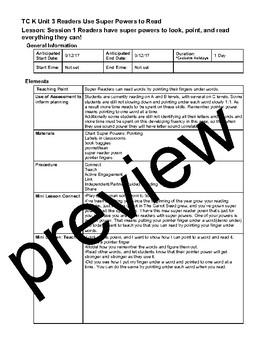 TC Teachers College Unit 3 Super Reader Powers Lesson Plans