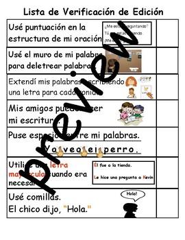 TC Teachers College Spanish Writing & Editing Picture Checklist for Grade 1