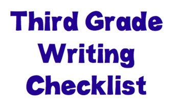 TC Third Grade Narrative Writing Checklist With Pictures EDITABLE