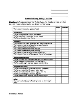 college essay writing checklist