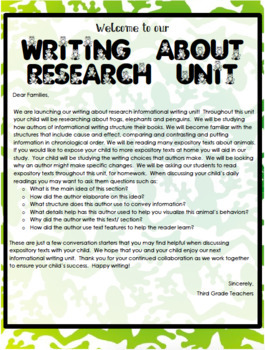 TC Writing About Research Writing Workshop Grade 3 All Ben