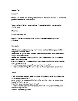 TC Writing Lesson Plans Kindergarten How To Unit