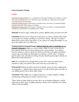 TC Writing Lesson Plans Kindergarten Persuasive Writing Unit