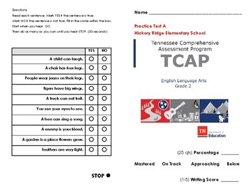 Tn Ready Tcap 2nd Grade Ela Practice Test A By Assessment Angel Ms