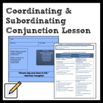 Middle School Grammar: Coordinating and Subordinating Conjunction Review