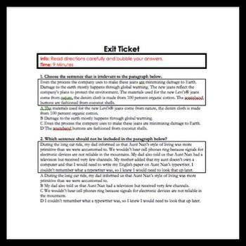 ELA: Logical Para. Order, Irrelevant Details & Concluding Sentence Practice