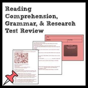 7th Grade ELA Test Review for Reading Comprehension, Grammar, & Research