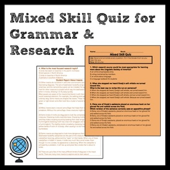 Middle School ELA Mixed Skill Quiz for Grammar and Research