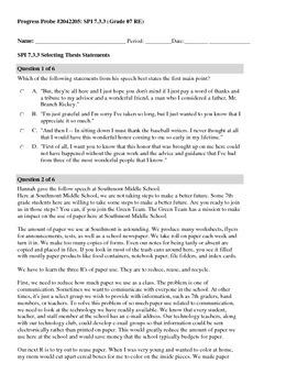 TCAP ELA SPI 7.2.3 & 7.3.3 Thesis Man Handout
