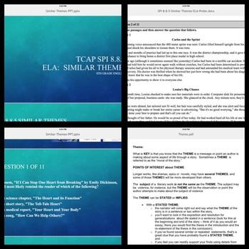 TCAP ELA SPI 8.8.5 Similar Themes