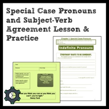 Middle School Grammar: Special Case Pronouns & Subject-Verb Agreement