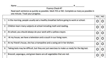 TCAP Fluency Sentences (Yes/No) for Big Kids Test Prep Bundle #7-12