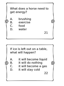 TCAP PREP - Third Grade  - Science Task Cards