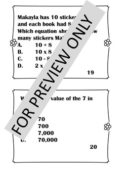TCAP PREP - Third Grade Math - Task Cards