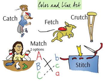 TCH Ending Phonics Clipart Set - Color and Line Art 12 pc set
