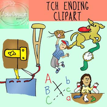TCH Ending Phonics Clipart Set - Color and Line Art 16 pc set