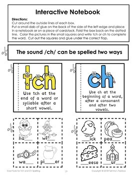 TCH and CH Spelling Rule Activities
