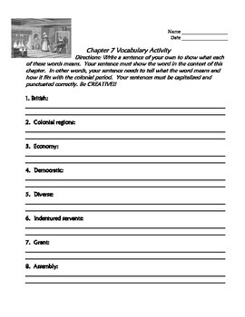 TCI's America's Past Chapter 7 Vocabulary Activity