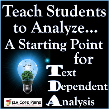 TDA Introduction ~ Teach Students to Analyze...A Starting Point