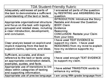 TDA Student-Friendly Rubric