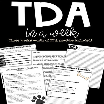 TDA in a Week: Text Dependent Analysis Writing Unit (3 Week Unit)