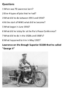 TE Lawrence (Lawrence of Arabia) Handout