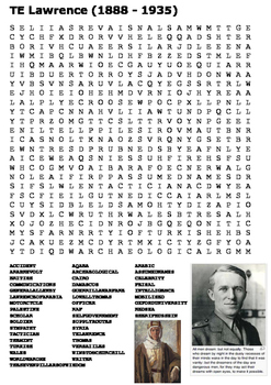 TE Lawrence (Lawrence of Arabia) Word Search