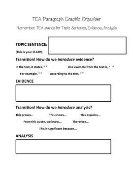 TEA (Topic, Evidence, Analysis) paragraph graphic organizer
