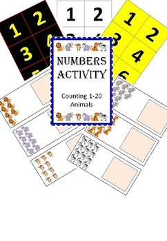 Adapted Maths workstation counting numbers 1-20 animals - Inclusivity