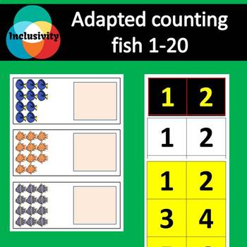 Adapted Maths workstation counting numbers fish 1-20 - Inclusivity