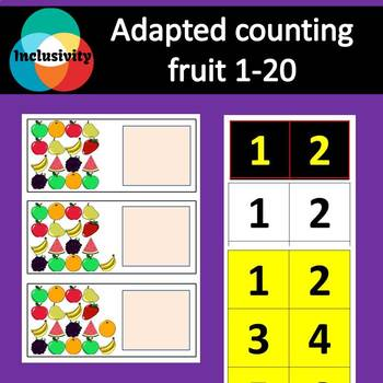 Adapted Maths workstation counting numbers fruit 1-20 - Inclusivity