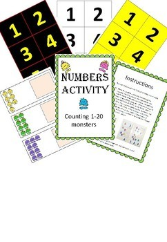Adapted maths workstation Monsters counting numbers 1-20 - Inclusivity
