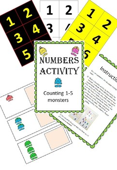 Adapted Maths workstation monster number counting 1-5 sampler pack - Inclusivity