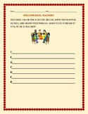TEACHER ACROSTIC: A WELCOME BACK ACTIVITY FOR TEACHERS!