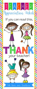 TEACHER APPRECIATION BANNER - THANK YOU - large banner vertical