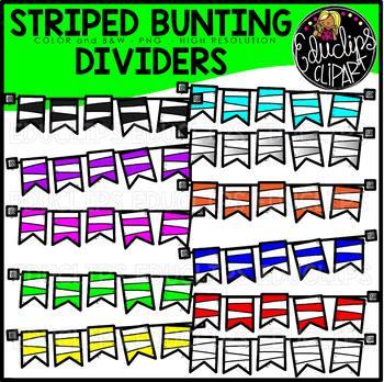 TEACHER APPRECIATION CLIP ART FREEBIE 2018 - Striped Bunting Dividers {Educlips}