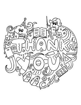 Teacher Appreciation Coloring Thank You Notes Bundle 14 Pages By Elizabeth A