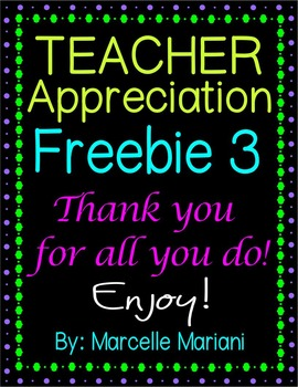 TEACHER APPRECIATION FREEBIE 3 -COMMERCIAL USE