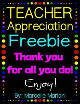 TEACHER APPRECIATION FREEBIE -COMMERCIAL USE