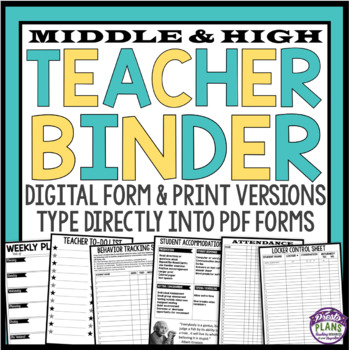 TEACHER BINDER - TEAL & YELLOW