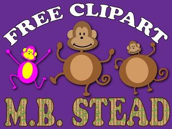 HUGE FREE monkey CLIPART bundle FOR teachers {MB STEAD}